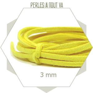 5m lacet suédine imitation daim 3mm jaune, cordon suédine imitation daim
