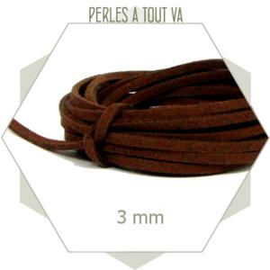 5m lacet suédine imitation daim 3mm marron, cordon suédine