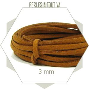 5 m lacet suédine aspect daim brun cuivré - 3 mm