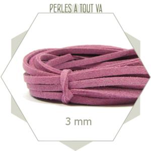 5m lacet 3mm suédine imitation daim mauve, apprêt pour bracelets