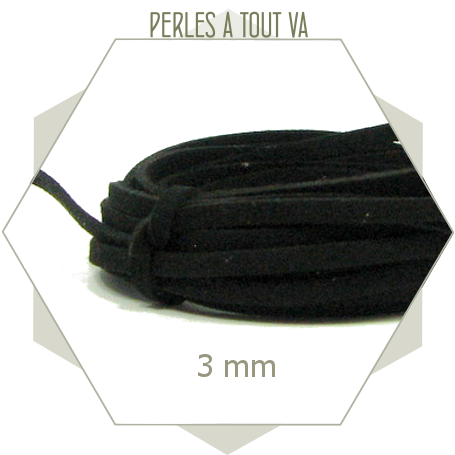 5m lacet suédine imitation daim 3mm noir, lanière fine et plate pour créations