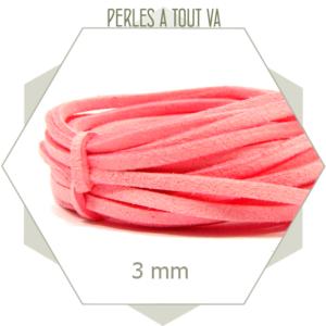 5m lacet suédine imitation daim 3mm rose, matériel pour créations flexible