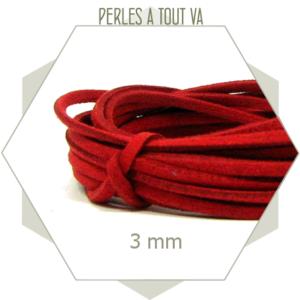 5m lacet suédine imitation daim 3mm rouge, lanière fine et plate pour bijoux fantaisies