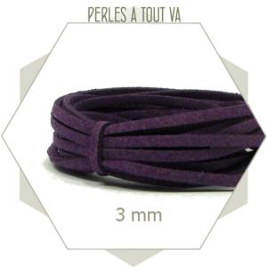 5m lacet suédine imitation daim 3mm violet, matériel pour création unique