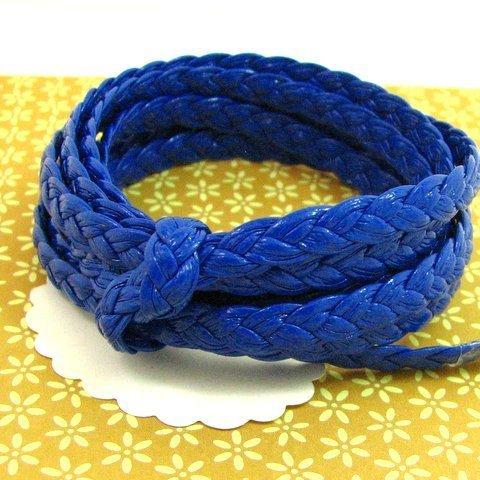 1m lanière simili cuir tressé 7 mm bleu roi