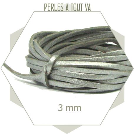 5 m lacet simili cuir argent - 3 mm