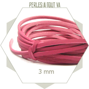 5m lacet simili cuir 3 mm  rose framboise