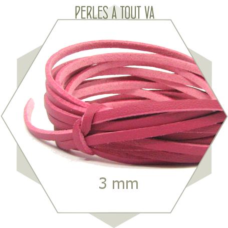 5m lacet simili cuir 3 mm  rose framboise