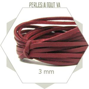 5 m lacet simili cuir 3mm bordeaux, lanière imitation daim et simili cuir