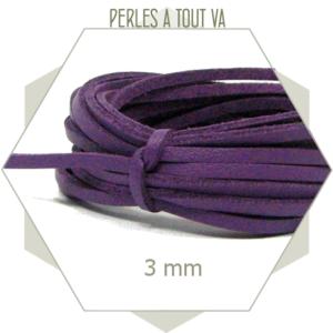 5 m lacet simili cuir 3mm violet, lanière violette, cordon violet simili cuir