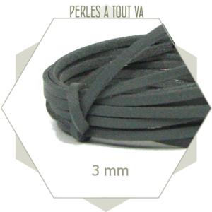 5 m lacet simili cuir 3mm gris anthracite, lanière imitation cuir