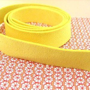 1m lanière suédine 20mm jaune
