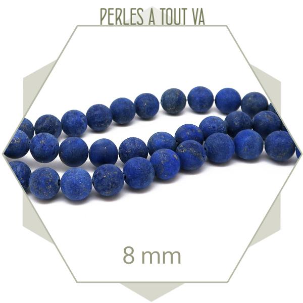 47 perles rondes 8 mm Lapis Lazuli dépolie bleu - perles pierres