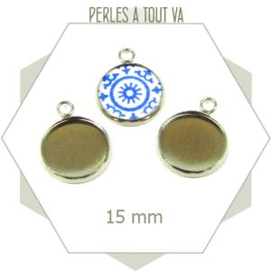 6 supports cabochons acier inox médaillon 15 mm