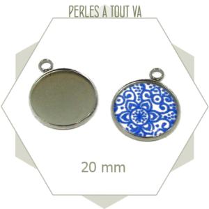 Kit 6 supports + cabochons acier inox médaillon 20 mm