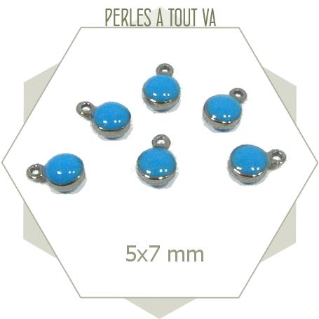10 minis breloques acier émaillées bleues