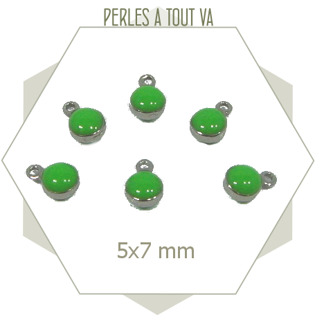 10 minis breloques acier émaillées vert vif