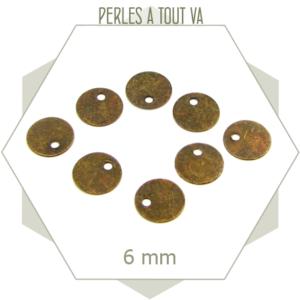 40 mini breloques cercles lisses bronze 6mm