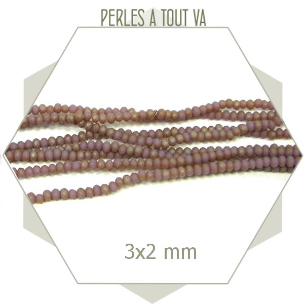 200 perles de verre à facettes donuts mauve mat 3x2 mm