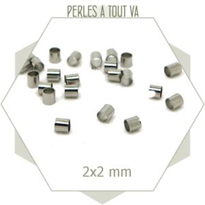 50 perles tubes argent 2x2 mm tubes pour bracelets
