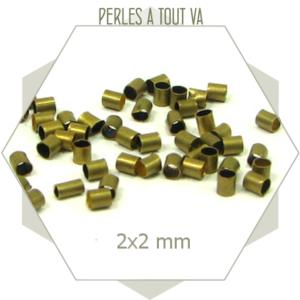 50 perles tubes bronze 2x2 mm