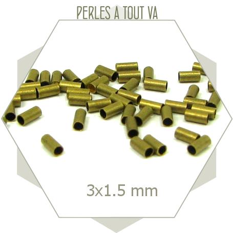 50 perles tubes bronze 3x1,5 mm