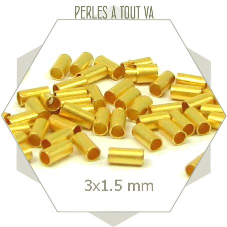 50 petites perles tubes dorées 3x1,5 mm