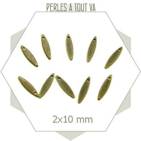 15  mini breloques navettes  bronze 2*10mm