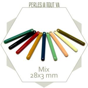 Mix de 18 sequins émaillés bâtonnets 28x3 mm