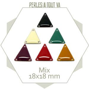 Mix de 12 sequins émaillés connecteurs triangles
