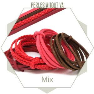 """Mix """"rouge"""" 4 cordons suédine, simili cuir, synthétique"""