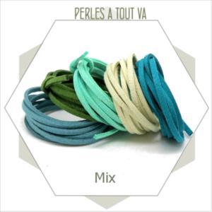 assortiment lanières suédine mix vert, 3 mm, 5 couleurs