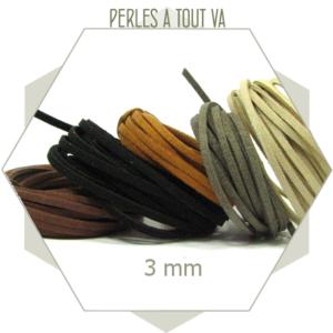 assortiment de lanières de suédine 3 mm - 5x1 m tons naturels