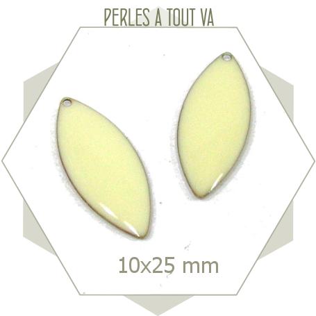 6 sequins émaillées 10 x 25mm blanc crème, breloques ovales émail époxy