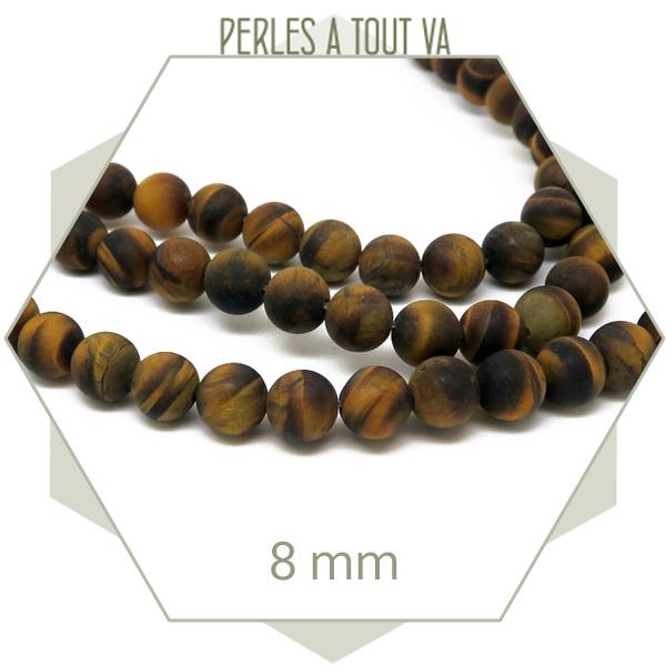 48 perles rondes 8 mm oeil de tigre dépoli - achat perles pierre