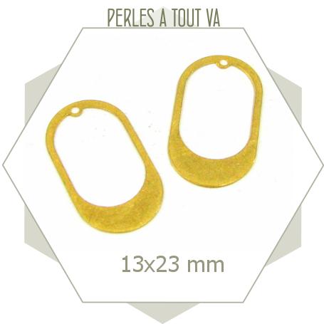 8 breloques ovales lisses ajourées - doré mat