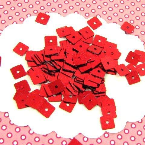 10g sequins paillettes carrées 5 mm rouges