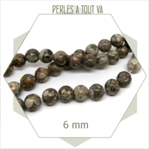 62 perles de Maifan rondes 6 mm, pierre naturelle