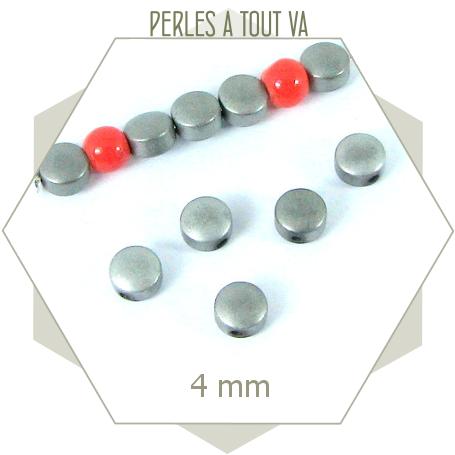 30 Perles lentilles hématite 4mm argent, éléments pour bijoux