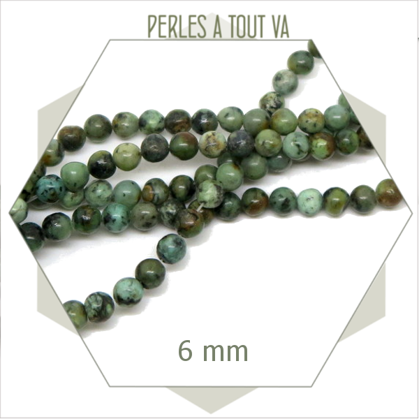 62 perles de turquoise africaine rondes 6 mm