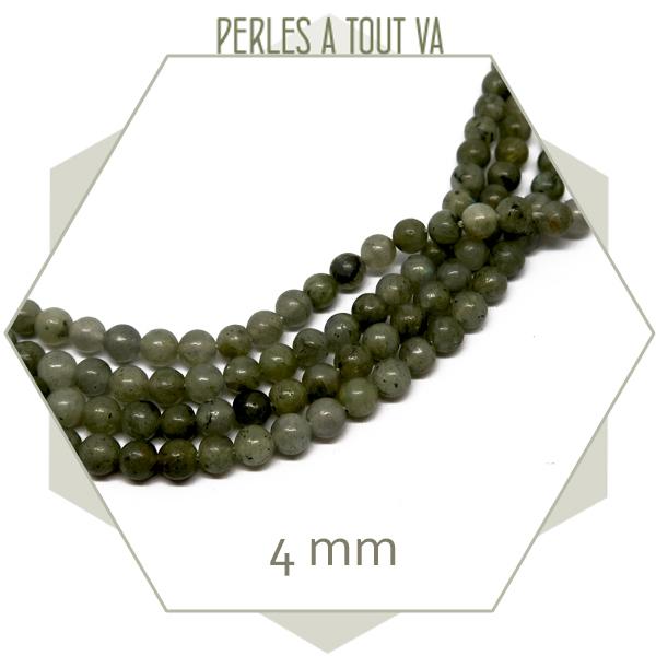 95 perles rondes 4 mm labradorite