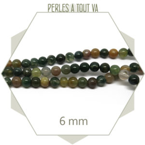 63 perles d'agate indienne 6 mm