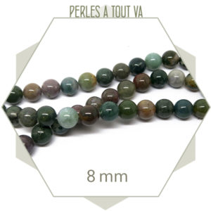49 perles d'agate indienne 8 mm