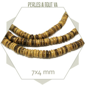 150 perles de coco brut 7x4 mm
