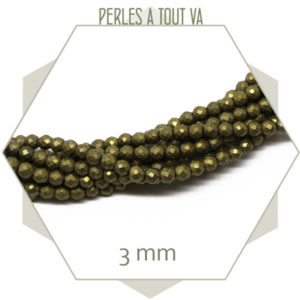 145 perles à facettes en hématite mat bronze 3mm, création bijoux