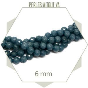 63 perles jade 6 mm à facettes, bleu gris