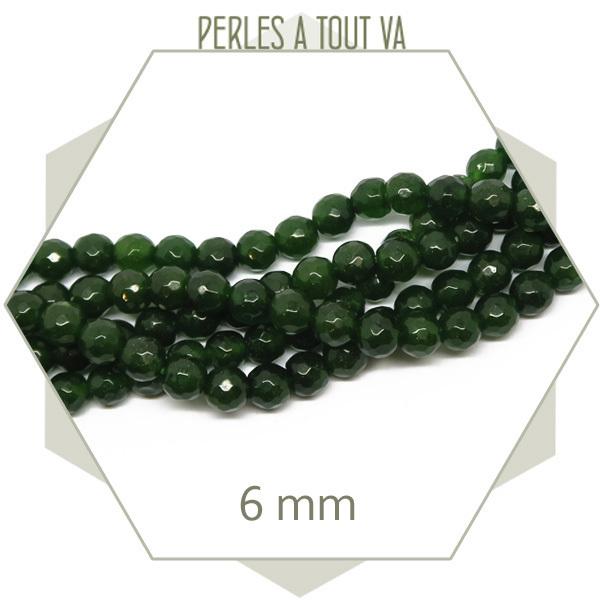 63 perles jade 6 mm à facettes, vert