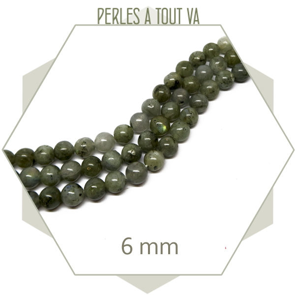 65 perles rondes 6 mm labradorite