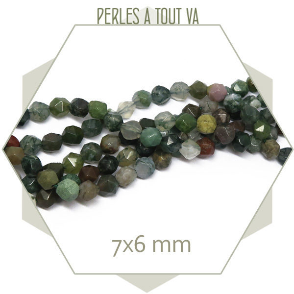 60 perles polygones d'agate indienne 6x7mm