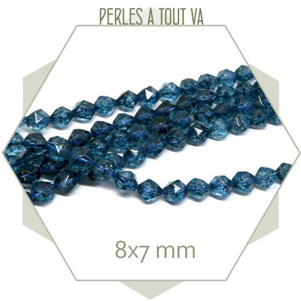 49 perles polygones Quartz bleu 8x7mm